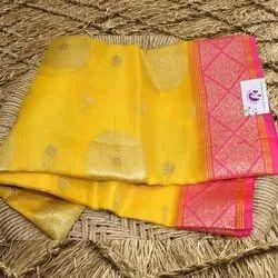 Suhagan Sarees Printed Ladies Fancy Supernet Saree, 6.3 m (with blouse piece)
