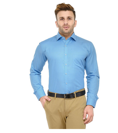 279e33a4a83 Micro Checks (Sky Blue) Solid Slim Fit Formal Shirt For Men at Rs ...
