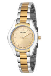 Ladies Golden Two-Tone Watches, Model: AEW01, Warranty: 2 Years
