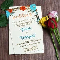 Single Fold Insert Floral Latest Acrylic Designer Invitation Card, Size: 8