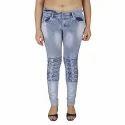 Ladies Designer Front Button Denim Jeans