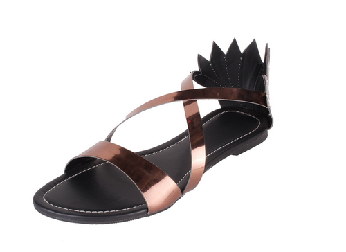 855d94254 Women Foot Wagon Brown Metallic Faux Leather Flat Sandal