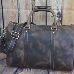 Brown SKH Handmade Leather Duffle Bag