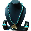 Blue Monika Impex Silk Thread Beaded Necklace, Earrings And Necklace, Box
