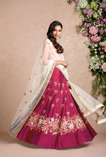 8fc8e4a5b3 Banglore Silk Pink Floral Embroidered Lehenga Choli For Women, Rs ...