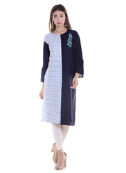 Designer Cotton Kurtis With Checks & Slub Embroidery