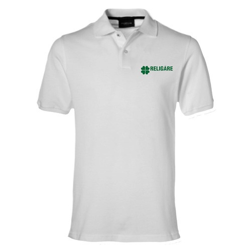 White Cotton Linen Corporate Logo T Shirt Rs 160 Piece Id