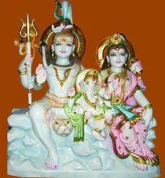 White Marble Shiv Parvati & Ganesh Ji