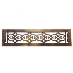 Flower Brass Wall Register with Louver - 2-1/4inch x 14inch (3-7/8inch x 15-1/4inch Overall)