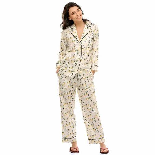 eda82f32c5 Ladies Cotton Cream Color Printed Night Suit