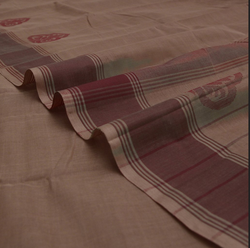 Handwoven Light Chocolate Cotton Saree With Maroon Border