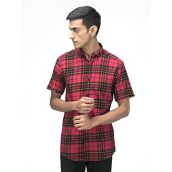 Green Hill Men's Checkered Casual Red Half Sleeve Shirt