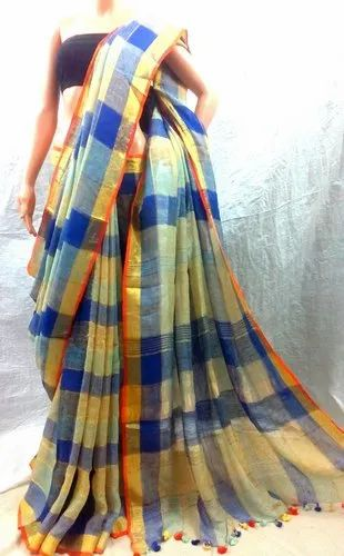 Exclusive Saree online & Whatsapp - Handloom Linen Multicolor Check