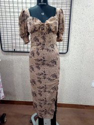Ruched Sleeves Ladies Dress