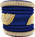 Blue And Golden Designer Silk Thread  Bangle Set