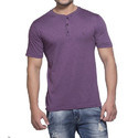 Deep Purple Clifton Mens Melange Henley Half Sleeve T-Shirt