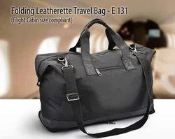 Black Plain Minura Folding Leatherette Travel Bag (Flight Cabin Size Compliant), Model No.: MGE131