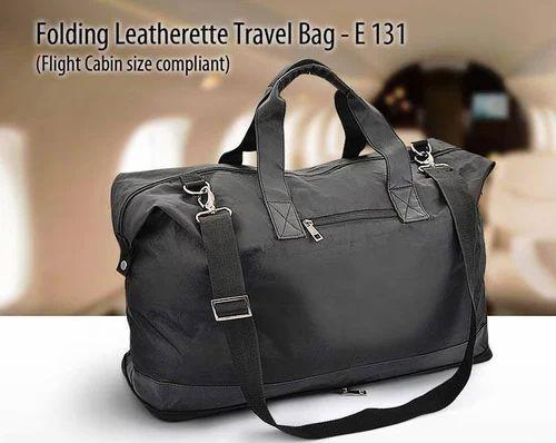 96d794fbc853 Black Plain Minura Folding Leatherette Travel Bag (Flight Cabin Size  Compliant)