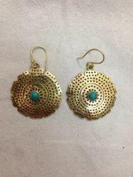 Brass Round Golden Earring