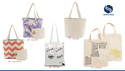 Natural And Offwhite Printed Canvas Cotton Shopping Bags