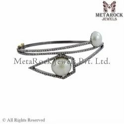 925 Silver Diamond & Pearl Bangle