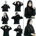 Black Color Soft Stitched Instant Hijab Scarf Stoles For Daily Wear Women