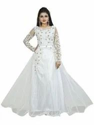 Women's Net Embroidery Semi-Stitched White Gown