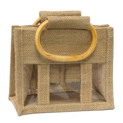 Two Bottle Jute Jar Packing Bags With Transparent PVC Front For Italy