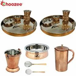 Choozee - Stainless Steel Copper Thali Set with Serveware & Hammered Jug and Matka Glass (15 Pcs)