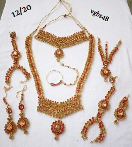 30600ed90 Brass Party Wear And Wedding Wear Indian Bridal Women Fashion Imitation  Jewelry Full 9 Pc Wedding