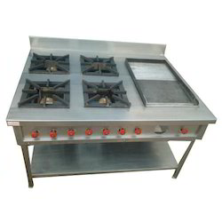 Stainless Steel Four Burner Commercial Gas Stove with Tawa