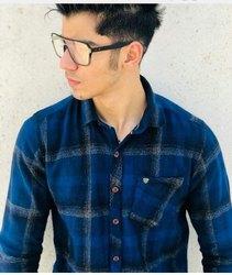 Men Cotton Checkered Shirt