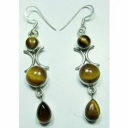 925 Sterling Silver Tiger Eye Fashion Earrings