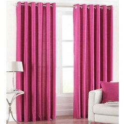 Solid Silk Eyelet Curtains