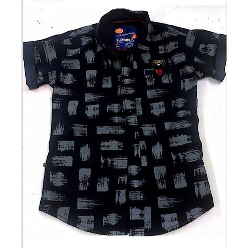Cotton Half Sleeves Kids Party Wear Printed Shirt