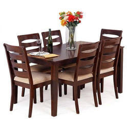 Dark Brown Wooden Dining Table Set