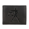 Aquarius Zodiac Sign Embossed Black Mens Leather Wallet