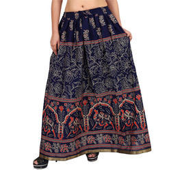 Cotton Jaipuri Long Designer Skirt