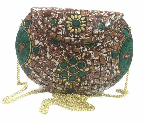 27a9f18d4c6 Handmade Metal Handbag Sling Bag Metal Clutches Women Girls Party bag  Bridal Bag Metal Purse Mosaic at Rs 510  piece