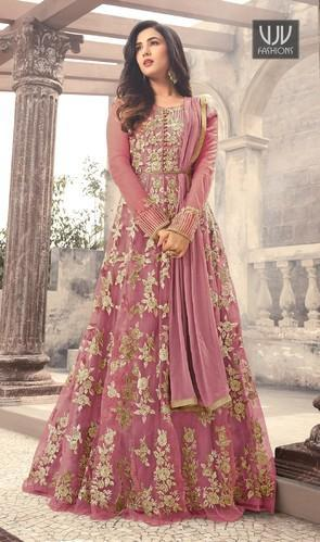 63dec2777 Georgette Embroidered Designer Long Anarkli Suit