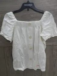 Shine Apparels White Girls Poly Square Neck Button Top, Size: S, M and L