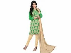 Green Colored Jacquard Unstitched Salwar Suit