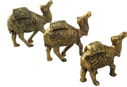 Golden Figure Metal Set of 3 Camel Animal Showpiece for Decoration and Gift Purpose