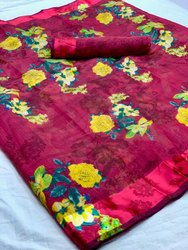 Printed Linen Saree with Satin Border