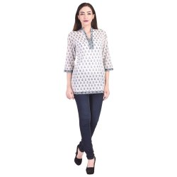 Hand Block Printed Cotton  Designer Kurtis Tops