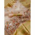 Ladies Golden Silk Embroidered Saree