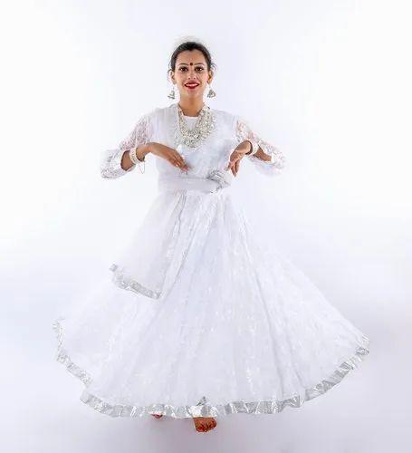 4f32c976a6 Net School Function Anarkali Suit White For Kathak Dance, Rs 800 ...