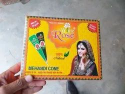 Red,Green White Rose henna cone, For Hand, Packaging Type: Box