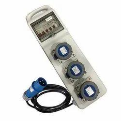 Pdb01 ( Panel Distribution Box ) - 3 x 16 Amp Socket With Mcb & Elcb & 3mtr Wire With Plug