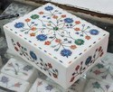 Indian Marble Inlay Box, For Home, Rectangular
